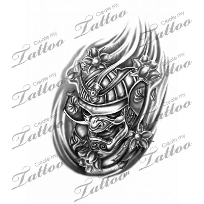 Grey Ink Samurai Helmet And Flower Tattoo Designs