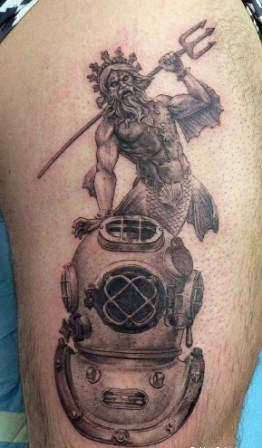 Grey Ink Scuba And Diving Helmet Tattoos