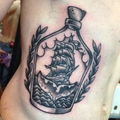 Grey Ink Ship In Bottle Tattoo For men