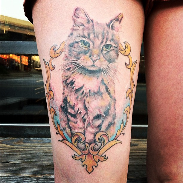 Grey Ink Sitting Cat Tattoo On Thigh