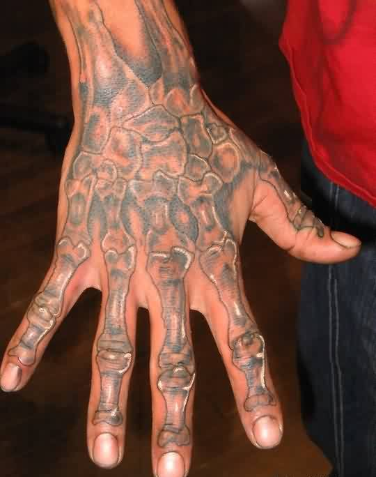 Grey Ink Skeleton Bones Tattoo On Hand