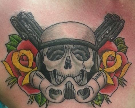 Grey Ink Skull Helmet And Rose Tattoos