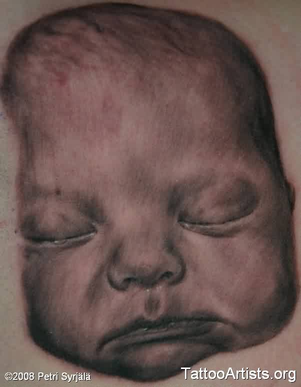 Grey Ink Sleeping Baby Portrait Tattoo