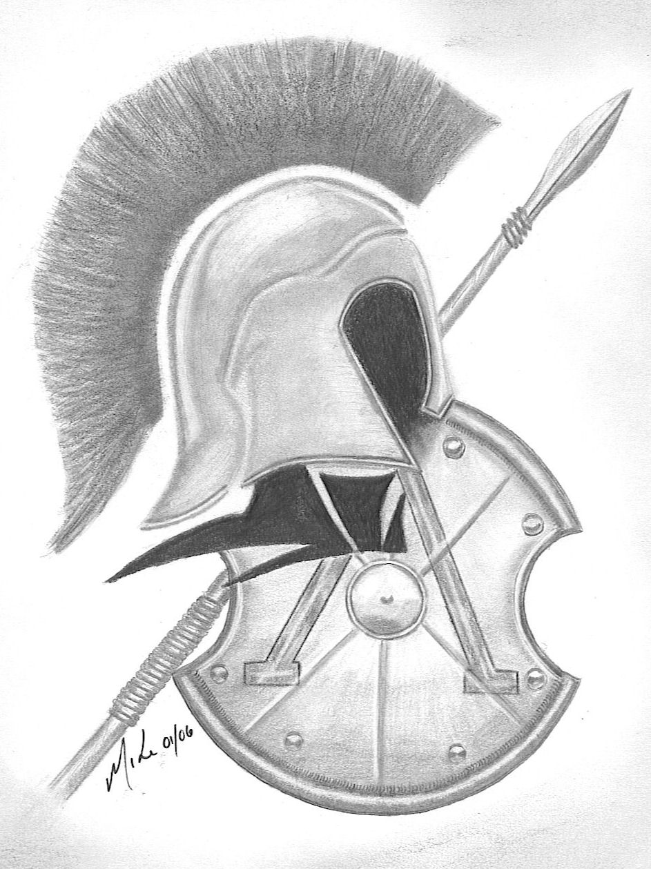 Grey Ink Spartan Helmet And Shield Tattoo Designs