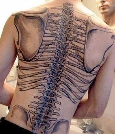 Grey Ink Structure Bones Tattoo On Back