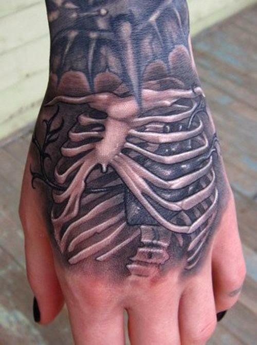 Grey Ink Structure Bones Tattoos On Hand