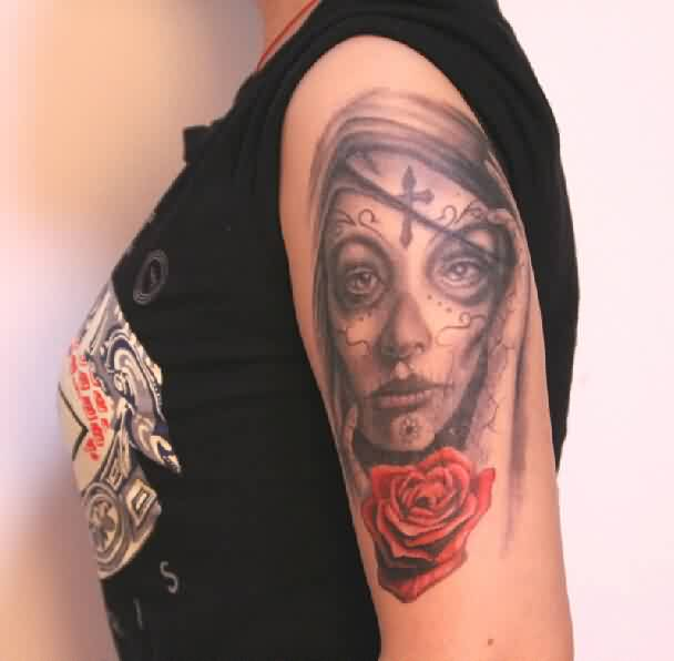 Grey Ink Sugar Skull Girl Portrait Tattoo On Shoulder (2)