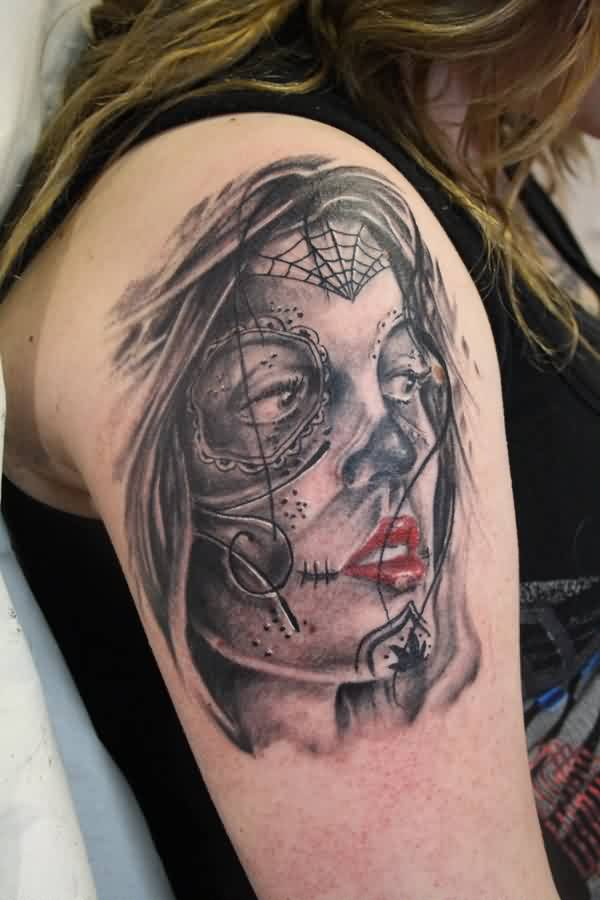 Grey Ink Sugar Skull Girl Portrait Tattoo On Shoulder