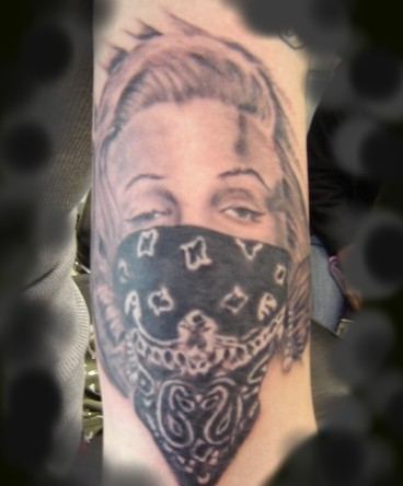 Grey Ink Thug Life Girl Portrait Tattoo On Arm