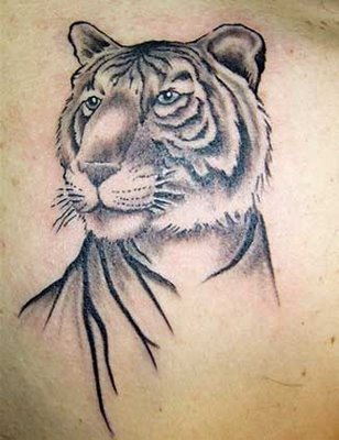 Grey Ink Tiger Portrait Tattoo