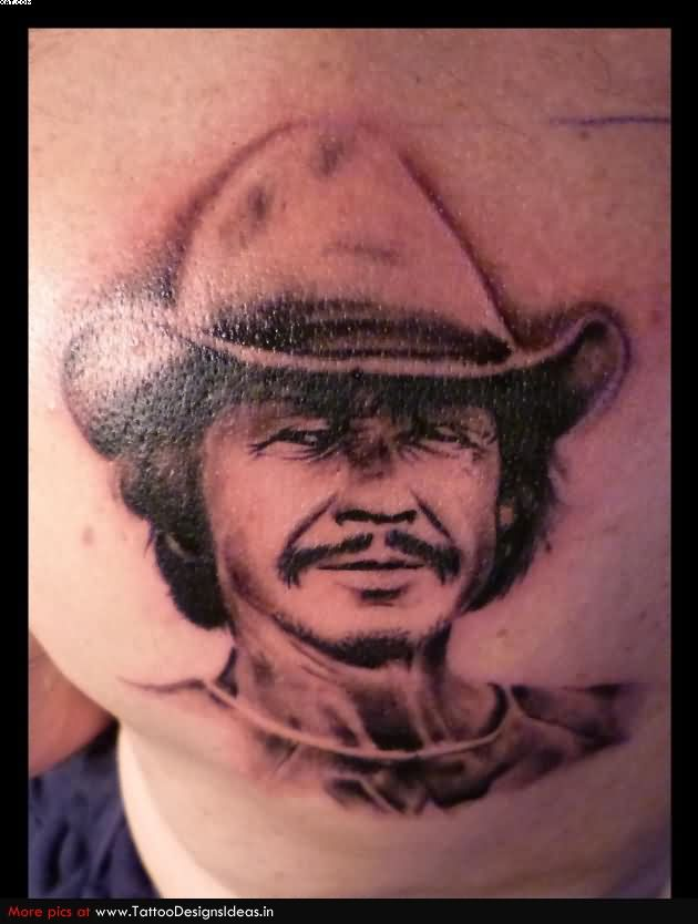 Grey Ink Tophat Man Portrait Tattoo