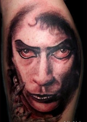 Grey Ink Vampire Portrait Tattoo Picture