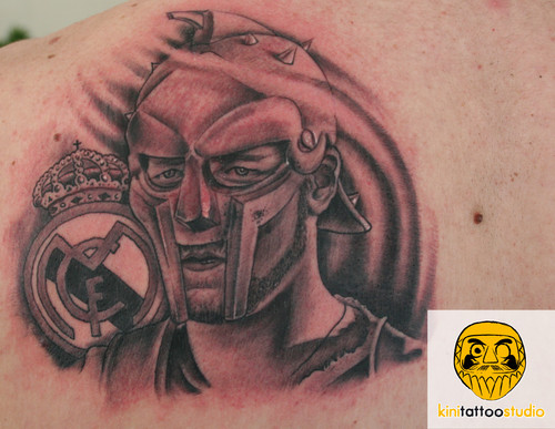 Grey Ink Warrior Head In Helmet Portrait Tattoo