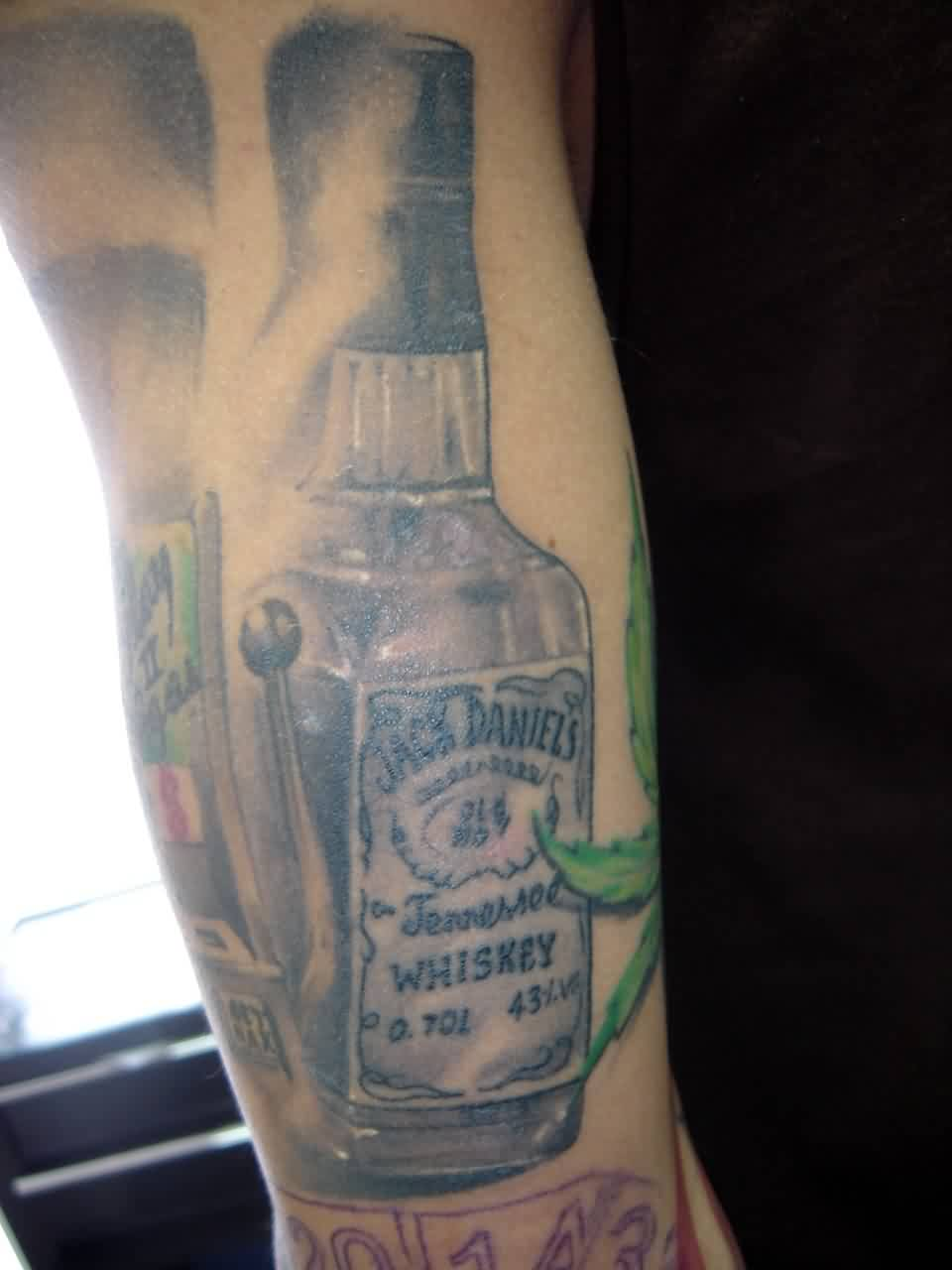 Grey Ink Whiskey Bottle Tattoo