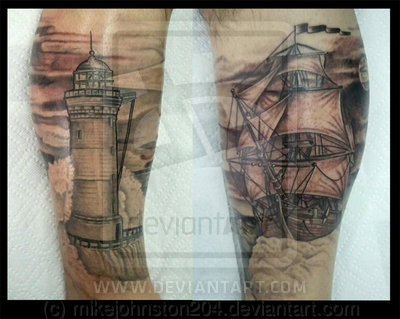 Grey Lighthouse And Ship Tattoos