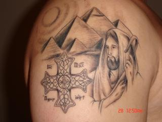 Grey Pyramids Jesus And Cross Tattoos