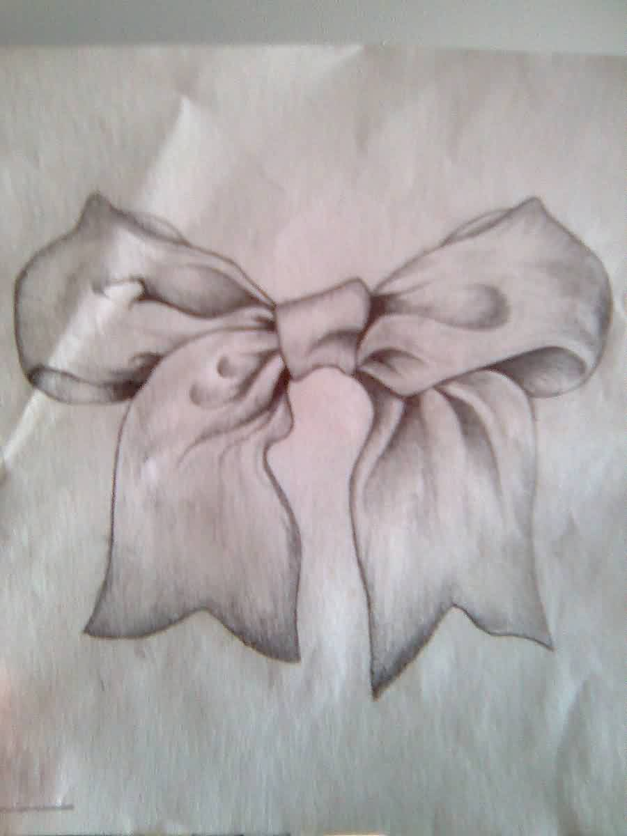 Grey Ribbon Bow Tattoo Design (2)