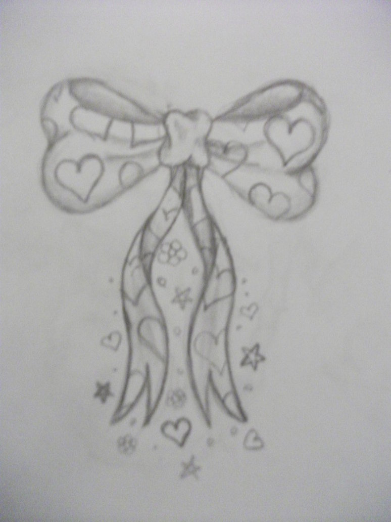 Grey Ribbon Bow With Stars Tattoo Design