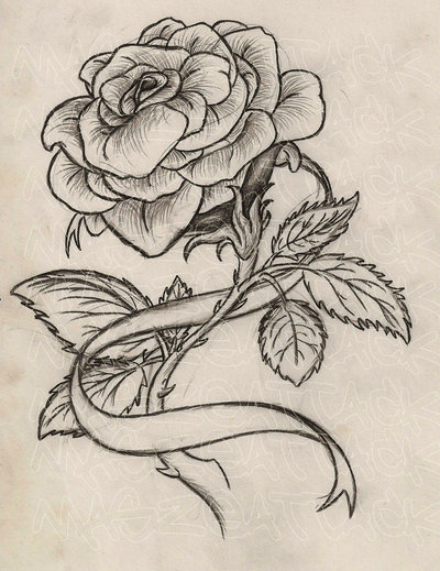 Grey Rose With Ribbon Tattoo Design (2)
