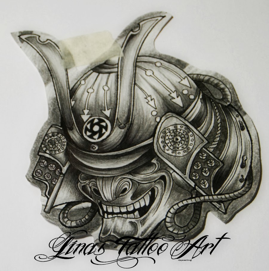 Grey Samurai Helmet Tattoo Model