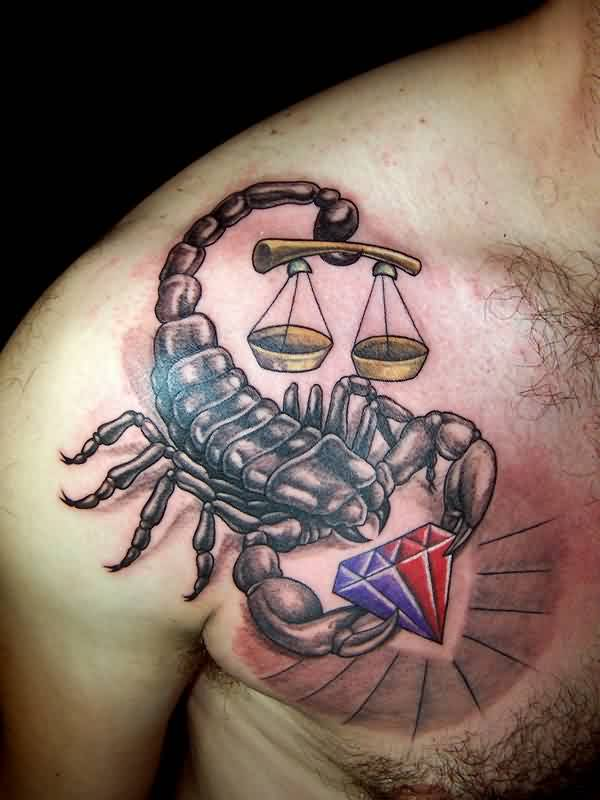 Grey Scorpion With Justice Scales And Diamond Tattoos