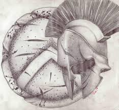 Grey Spartan Helmet Tattoo Design (2)