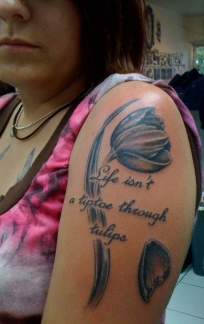 Grey Tulip Flower And Word Tattoos On Shoulder