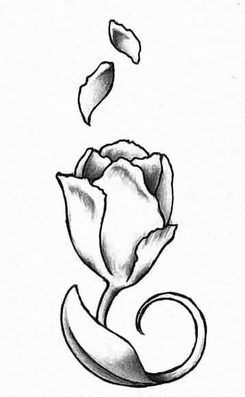 Grey Tulip Flower Tattoo Design