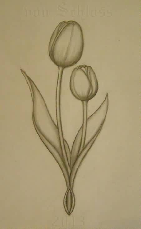 Grey Tulips Tattoos Print