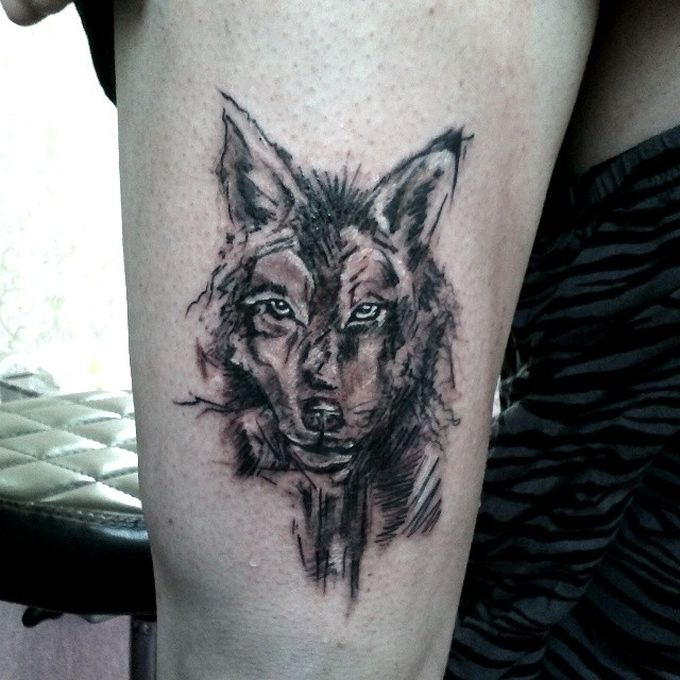 Grey Watercolor Wolf Tattoo