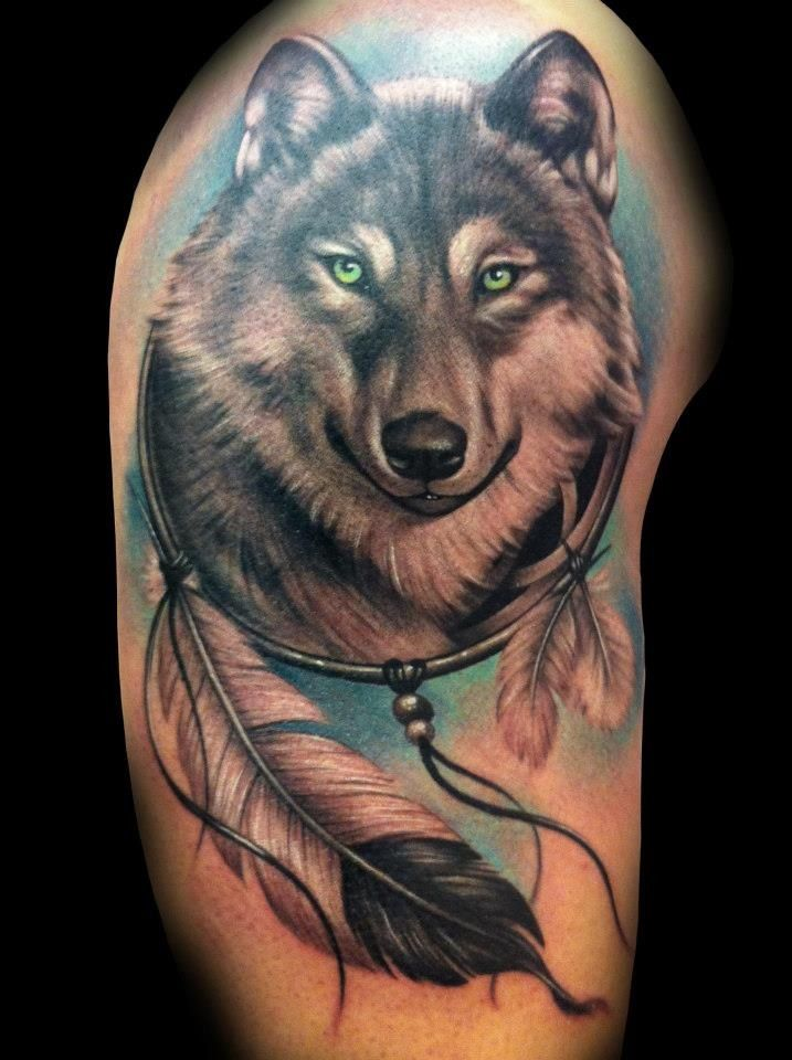 Grey Wolf Dreamcatcher Tattoo On Biceps