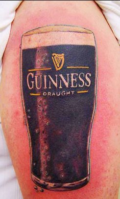 Guinness Glass Tattoo On Biceps For Men