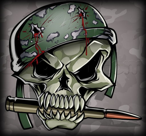 Gun Shot Helmet And Skull Tattoo Design