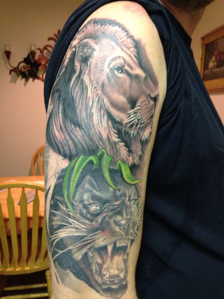 Half Sleeve Of Animal Tattoos