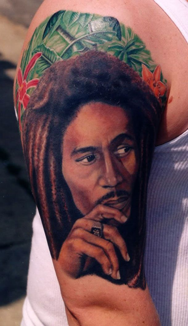 Half Sleeve Of Bob Marley Portrait Tattoo