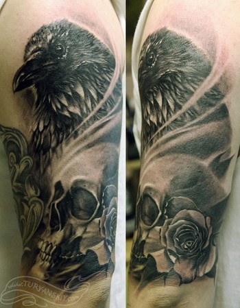 Half Sleeve Of Crow And Skull Portrait Tattoos