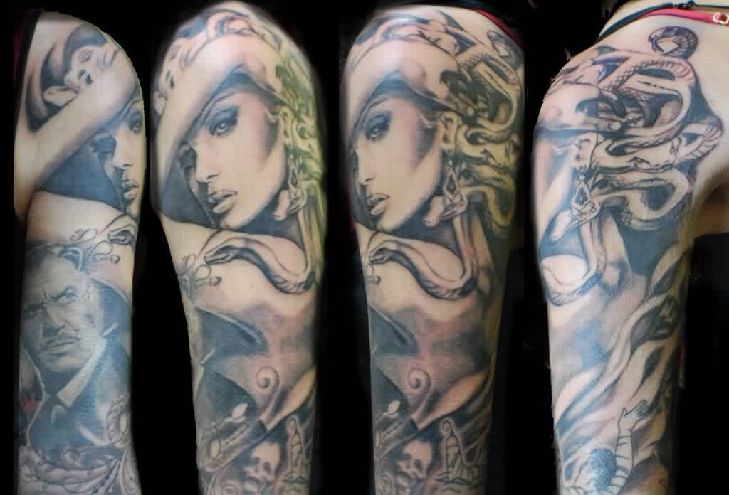 Half Sleeve Of Portrait Tattoos