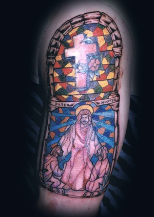 Half Sleeve Stained Glass Tattoos