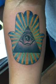 Hamsa Hand And Eye Pyramid Tattoo
