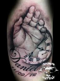 Hand And Clock Portrait Tattoos