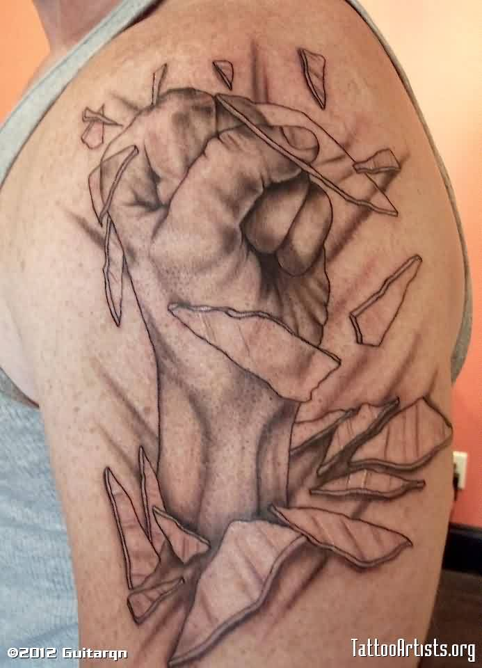 Hand Break Glass Tattoo On Biceps