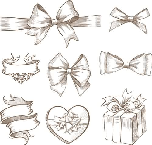 Hand Drawn Ribbon Bow And Gift Boxes Tattoos Sample