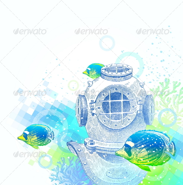 Hand Drawn Vintage Diving Helmet And Tropical Fishes Tattoo Design