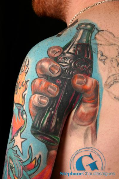 Hand Held Coca Cola Bottle Portrait Tattoo
