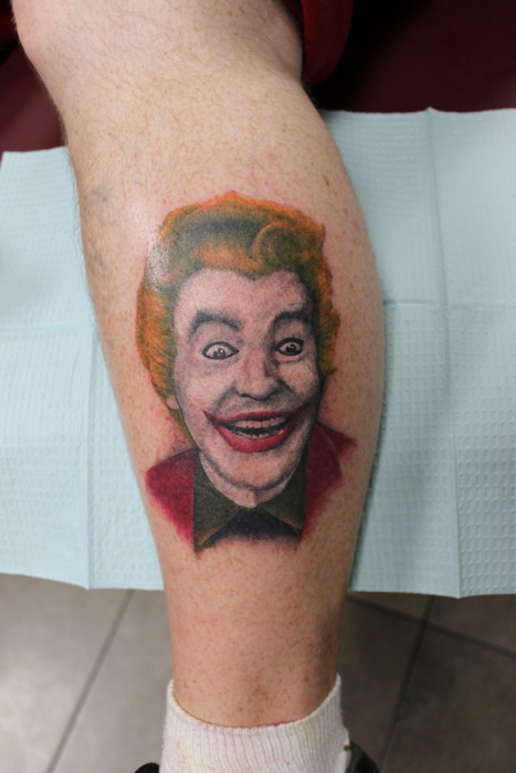Happy Joker Portrait Tattoo On Leg For Boys