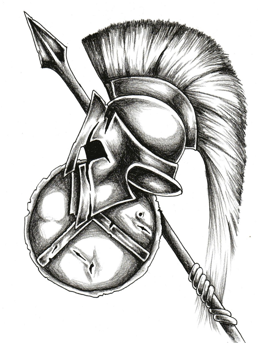 Helmet And Shield Tattoo Design