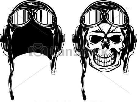 Helmet And Skull Tattoos Set