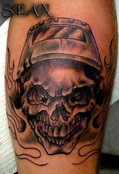 Helmet Skull And Flame Tattoos