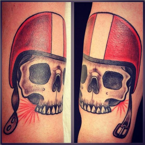 Helmet Skull Tattoos On Arm