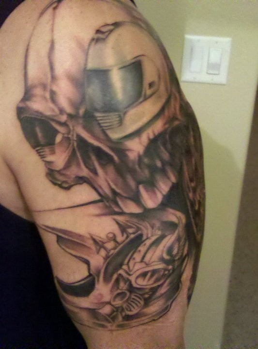 Helmet Tattoos On Shoulder